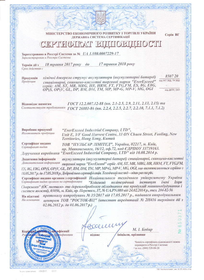Сертификат УкрСЕПРО 2018-2019